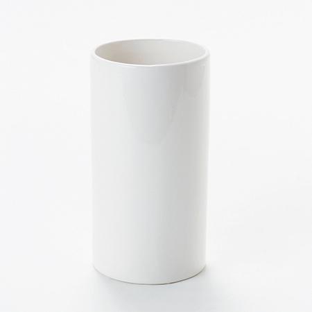 花器 リース 花瓶 陶器花器 日本製 即日 ノークシリンダーS 東京堂 シャイニーホワイト 買い物 CX000610-001