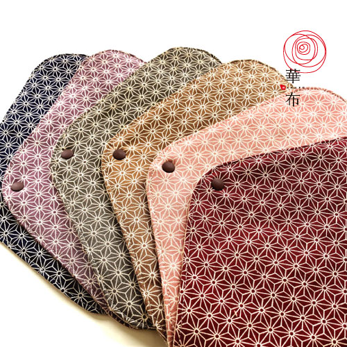プレーンタイプの布ナプキンを挟んで使うホルダーです 数量限定 オーガニックコットンの布ナプキンホルダー1枚入り 販売 落ちない 和柄 売買 麻の葉柄 布ナプキン初心者におすすめ ずれない