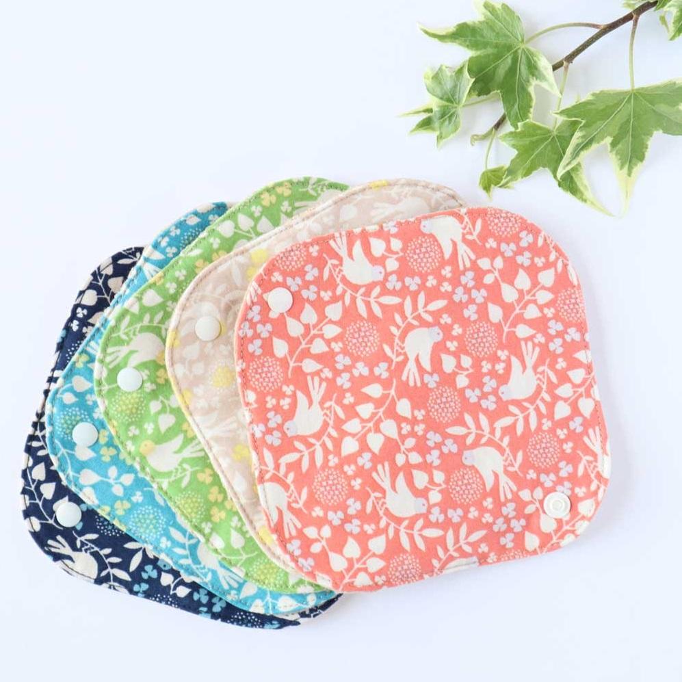 オーガニックコットンの布ナプキンホルダー 人気急上昇 ミニ バード柄 落ちない ずれない 信憑 布ナプキン初心者におすすめ