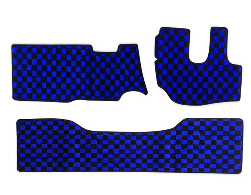 内装パーツ デュトロ ダイナ 供え トヨエース H11年5月- 標準 ダブルキャブ フロアマット PA-TFM2122-BL チェック ブラック ブルー リア 青x黒 メーカー直売 フロント x