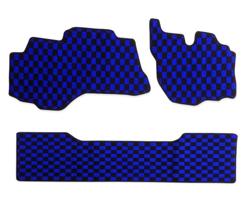 内装パーツ 半額 三菱 ふそう ブルーテック キャンター H22年12月- 標準 ダブルキャブ フロアマット R 結婚祝い ブルー 青x黒 ブラック PA-TFM2425-BL F チェック x