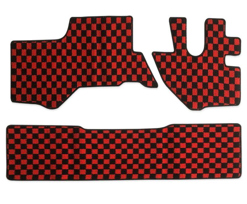 内装パーツ 07エルフ タイタン アトラス コンドル 標準 ダブルキャブ 買取 フロアマット フロント リア x 赤x黒 チェック PA-TFM2627-RD 人気 おすすめ ブラック レッド