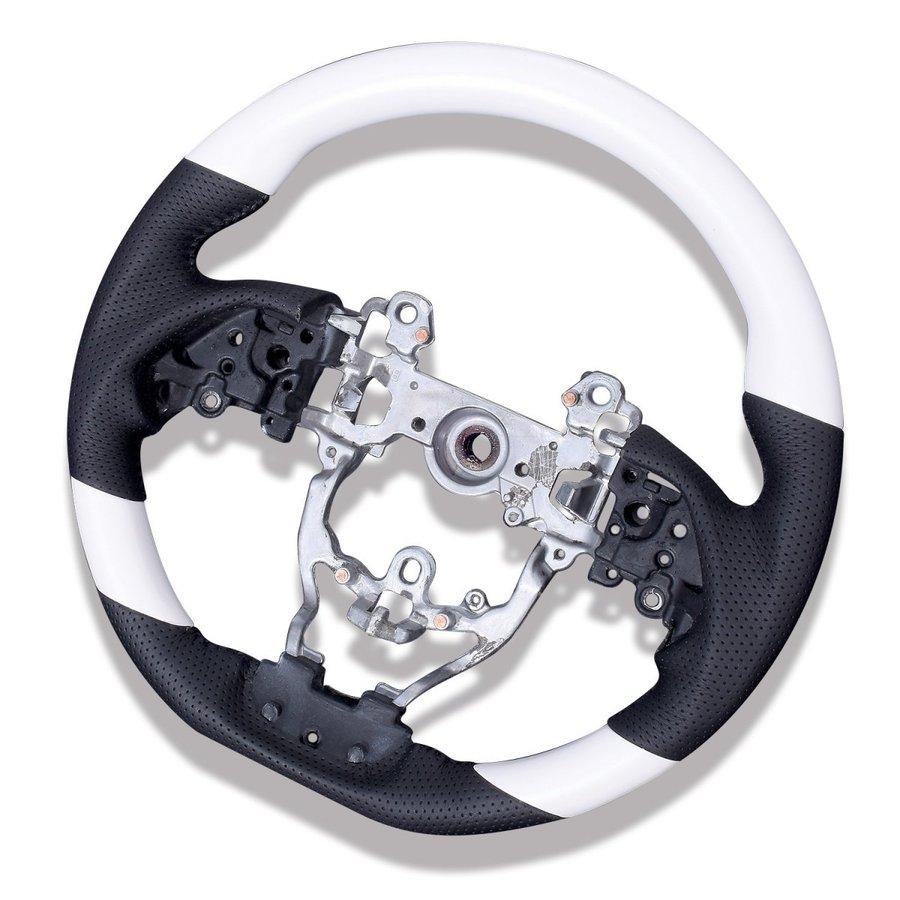 内装パーツ ステアリング プリウス 50系 ZVW50 51 55 ガングリップ PRIUS ブラック PVCレザー ホワイト ZERO ST190-258