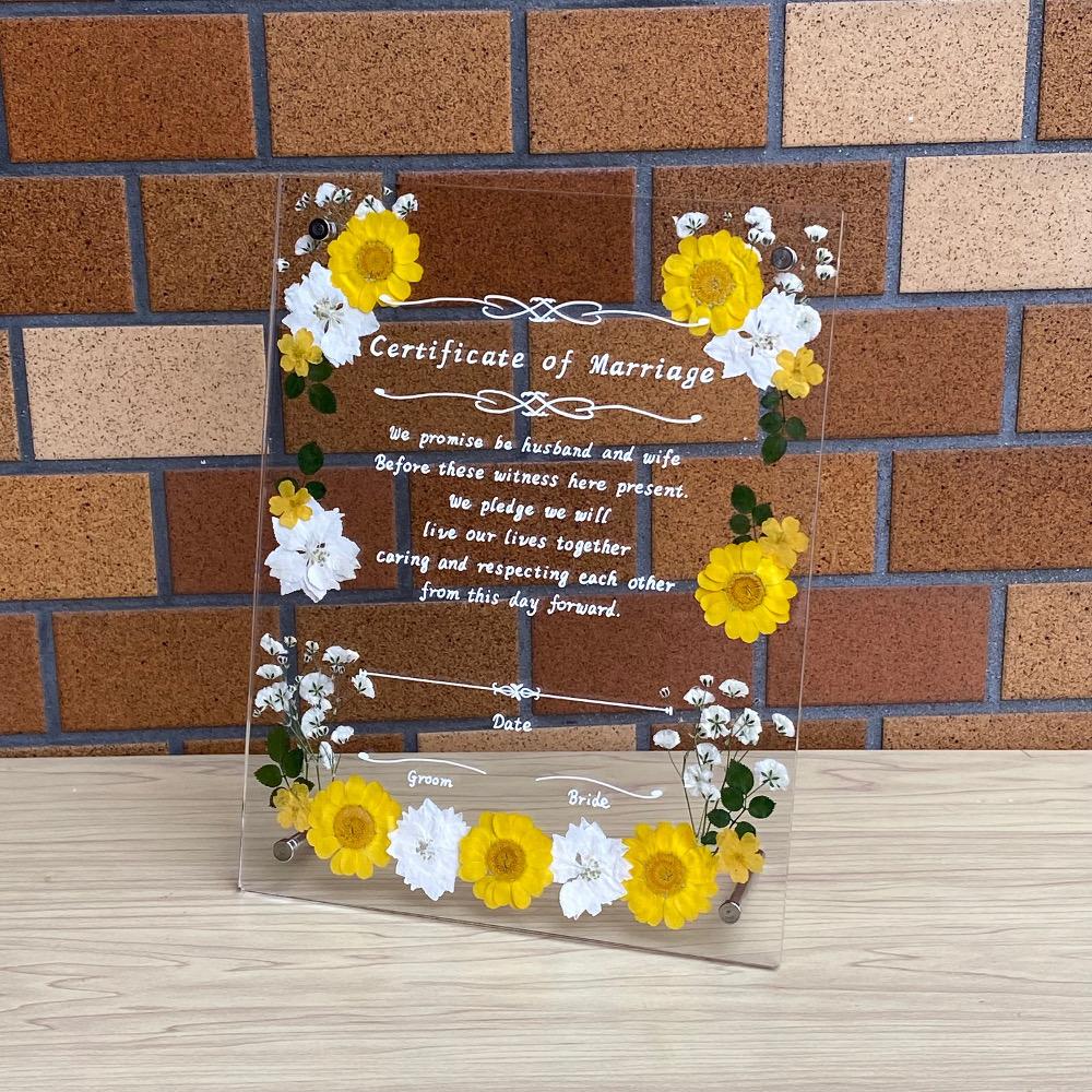 押し花とアクリルフレームで作成したハンドメイドの可愛い結婚証明書 ネコポス便で送料無料 結婚証明書 限定品 ハンドメイド イエロー プリンセスシリーズ 日本全国 送料無料 押し花 アクリルフレーム