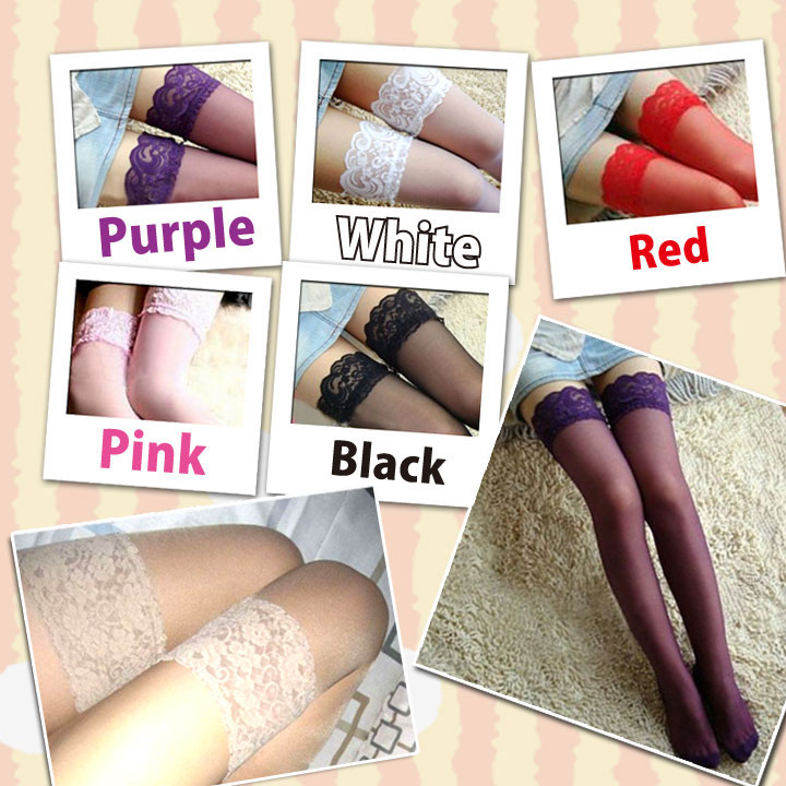 1c591c7ba Knee high stockings ☆ seven colors with product contents ーレース. Color  ーblack