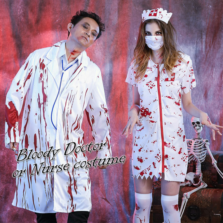 19f779050cb12 Halloween zombie doctor nurse splatter cosplay costume fancy dress costume  mens Womens large size horror scary ...