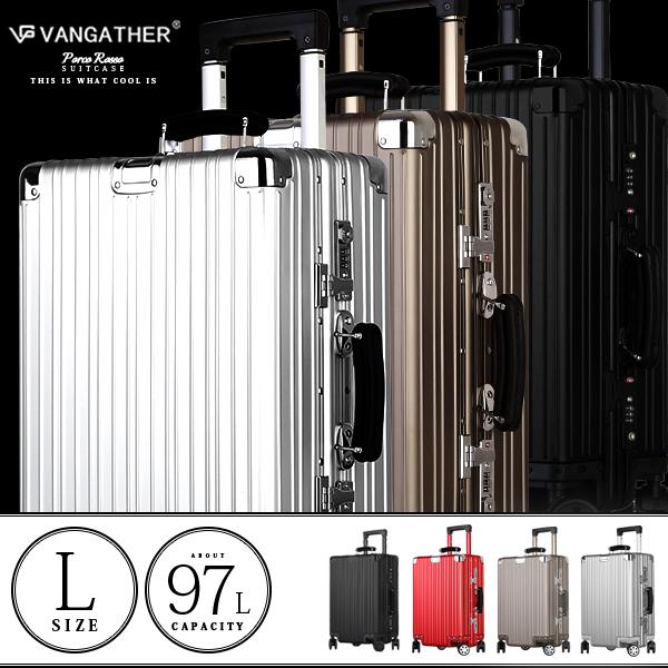 【SS】【数量限定商品】スーツケース キャリーケース キャリーバッグ vangather [6188-l] lサイズ アルミ付属 全4色 TSAロック搭載 28インチ シルバー 5~7泊 4輪キャスター