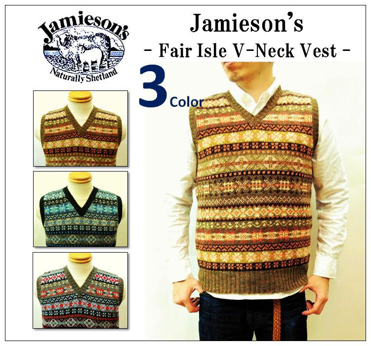 【送料無料】【JAMIESON'S/ジャミーソンズ】-FAIR ISLE V-NECK VEST/フェアアイルVネックベスト-