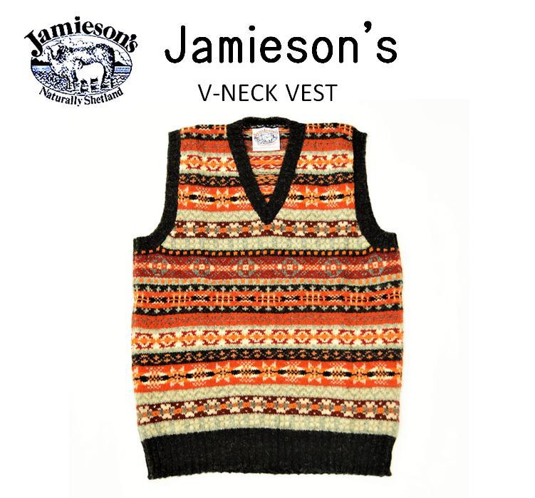 【SALE!!】【JAMIESON'S/ジャミーソンズ】-FAIR ISLE V-NECK VEST/フェアアイルVネックベスト