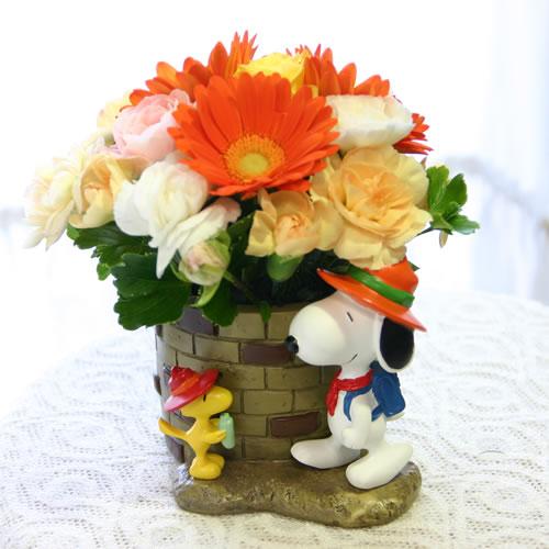 对史努比和木材存货,花生的受欢迎的人物排队的工具安排花的花礼物史努比·暖水瓶