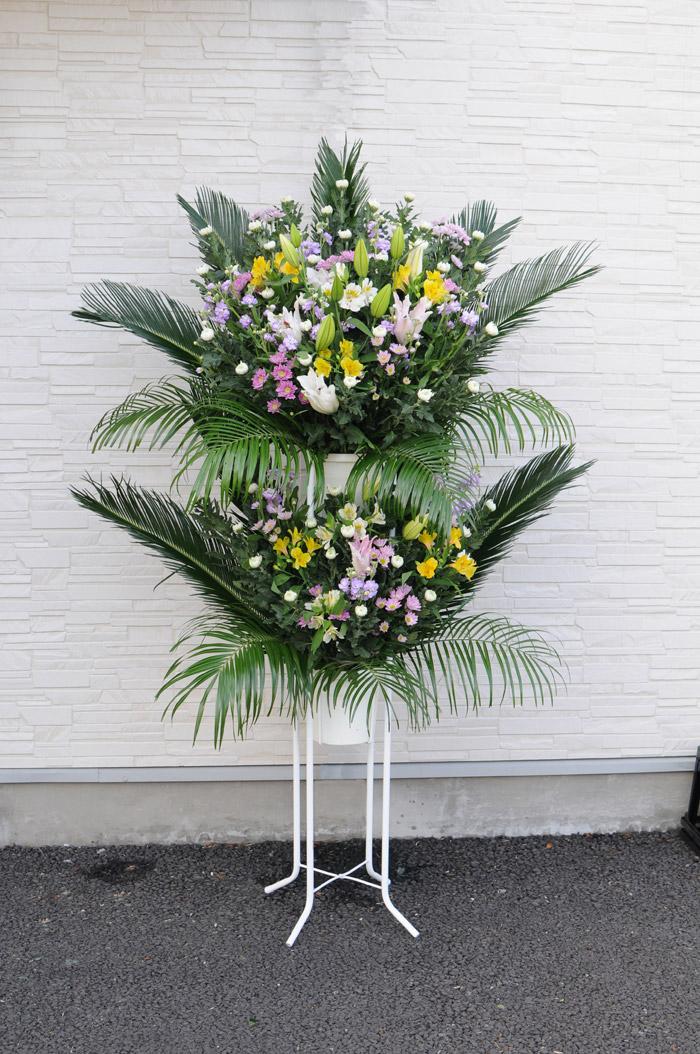 葬儀告別式用スタンド花C 全国対応【フラワーギフトエーデルワイス花の贈り物】 【楽ギフ_メッセ入力】 花贈る 葬儀 スタンド 即日 お供え