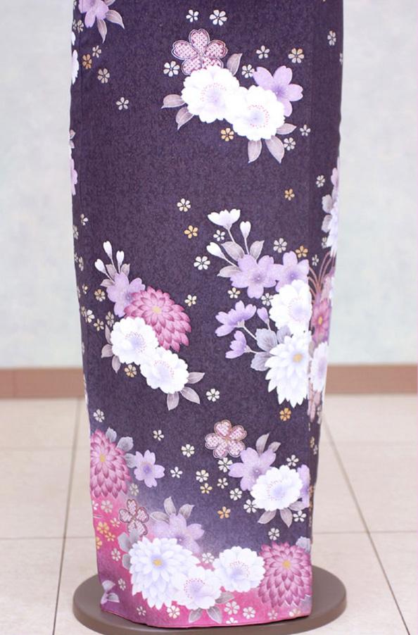 振袖レンタル F651 紫ラメ地裾ピンクぼかしに花 着物レンタル レンタル着物 卒業式 レンタル 結婚式 貸衣装 結納 入学式 卒業式 パーティー 往復送料無料 レンタルdCeWxQrBo