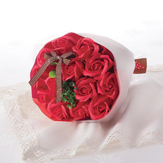 カラーバリエーション豊富なミニブーケ [並行輸入品] 大人気 ブーケタイプのシャボンフラワードット柄クリアバッグ入り セール特価 シャボンフラワー RED カラーブーケ レッドSBL-21 ソープフラワー