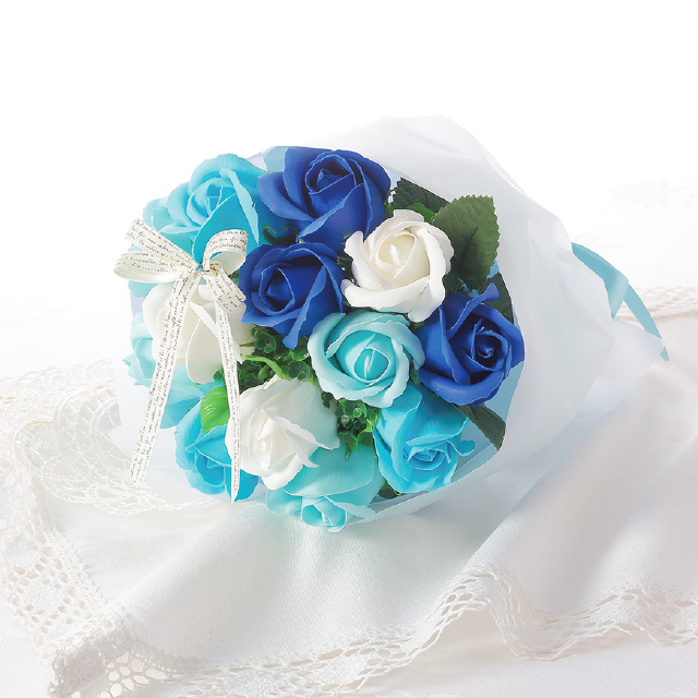 カラーバリエーション豊富なミニブーケ 大人気 ファッション通販 ブーケタイプのシャボンフラワードット柄クリアバッグ入り シャボンフラワー BLUE ブルーSBL-21 カラーブーケ 大規模セール ソープフラワー