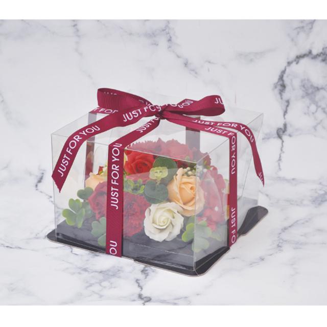 ケーキのようなアレンジシャボンフラワー※花と土台は接着されています シャボンフラワー ソープフラワー レッドS-2800 ミニフラワーケーキ RED お得なキャンペーンを実施中 お金を節約