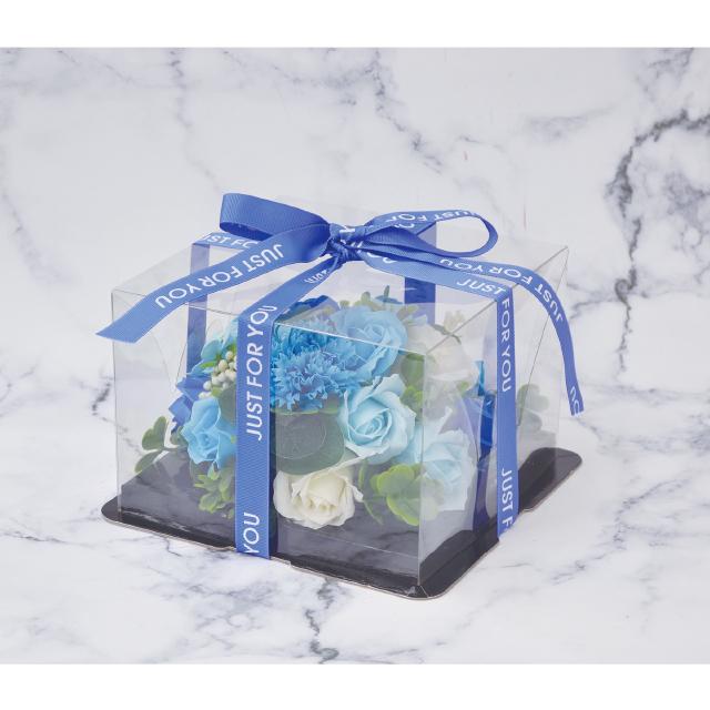 ケーキのようなアレンジシャボンフラワー※花と土台は接着されています シャボンフラワー ソープフラワー 人気商品 最新号掲載アイテム BLUE ブルーS-2800 ミニフラワーケーキ