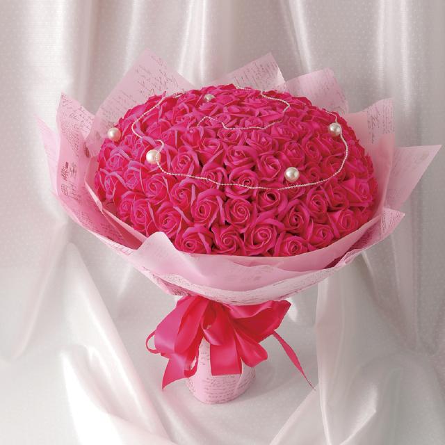 99本のバラの花言葉は 永遠の愛 ブーケタイプのシャボンフラワー シャボンフラワー 99本ローズ 最新アイテム ソープフラワー 公式 ROSEPINK ローズピンクS-070