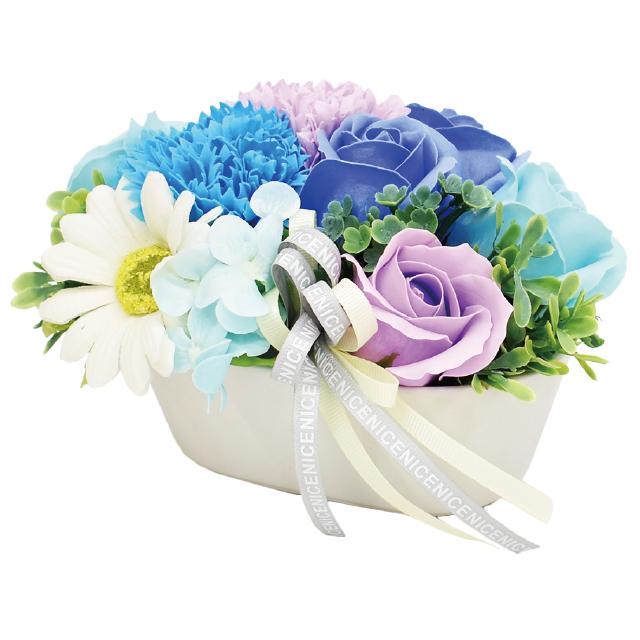 小ぶりながら存在感のある華やかさ ポットタイプのシャボンフラワー※取っ手付きケース入り シャボンフラワー ソープフラワー カレン ブルーS-122 卓越 メーカー在庫限り品 BLUE
