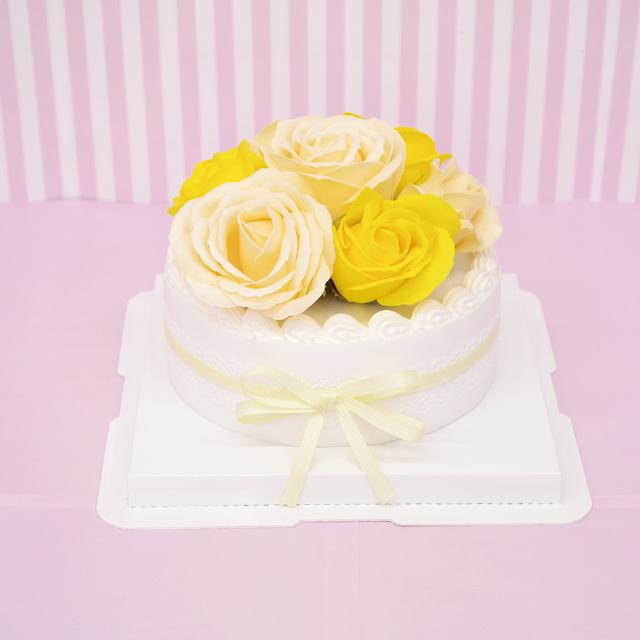 ホールケーキがシャボンフラワーに ケーキタイプのシャボンフラワー※土台とケーキ部分は取り外せません シャボンフラワー 最安値 ソープフラワー ローズケーキ レモンS-105 全商品オープニング価格 LEMON