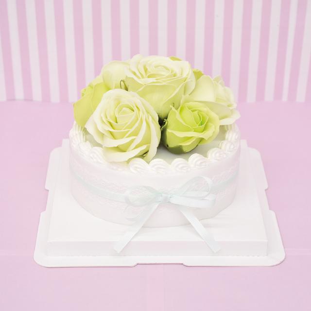 ホールケーキがシャボンフラワーに ケーキタイプのシャボンフラワー※土台とケーキ部分は取り外せません シャボンフラワー ソープフラワー ミントS-105 選択 返品不可 MINT ローズケーキ