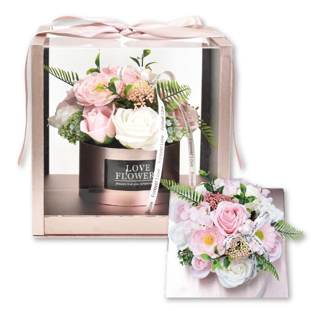 高品質 高級感のあるクリアケースが花々を引き立てる ボックスタイプのシャボンフラワー シャボンフラワー ソープフラワー 新商品 PINK ピンクSH-018 アンテレ