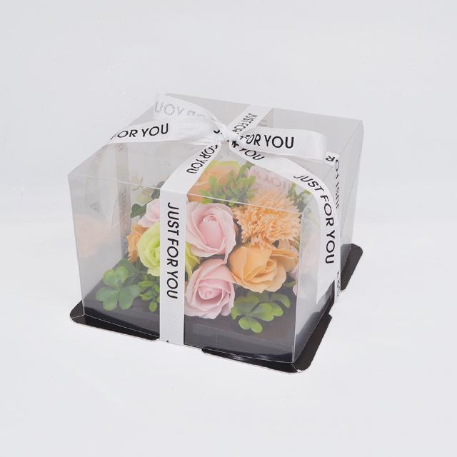 ケーキのようなアレンジシャボンフラワー※花と土台は接着されています シャボンフラワー ソープフラワー 商店 高い素材 PINK×ORANGE ミニフラワーケーキ ピンク×オレンジS-5800