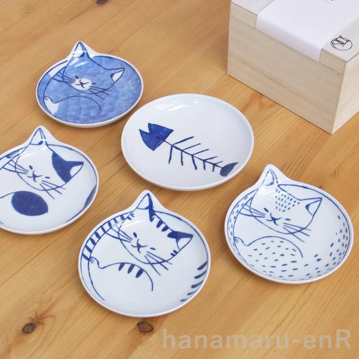 含波佐見焼neco盘子5张安排木盒的| 小碟子铭牌(餐具喜爱的猫猫盘子杂货邮购)