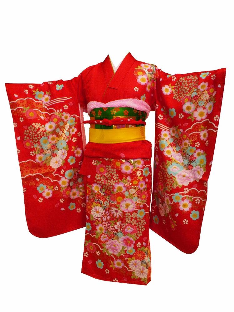 7歳用 絵羽柄 金刺繍入り 四ッ身着物 襦袢付き 赤着物 7kk-76