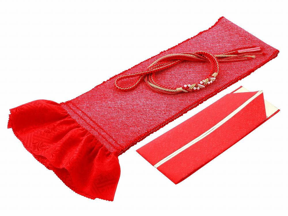 成人式 振袖 結婚式 着物 振袖用 贈答品 正絹 四ッ巻絞り 重ね衿 h-362 帯締め 好評受付中 赤 帯揚げ 3点セット