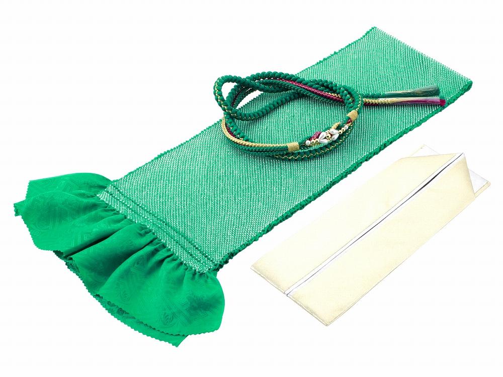 成人式 振袖 結婚式 着物 振袖用 正絹 四ッ巻絞り 新作アイテム毎日更新 帯揚げ 緑 h-368 3点セット 5☆大好評 重ね衿 帯締め