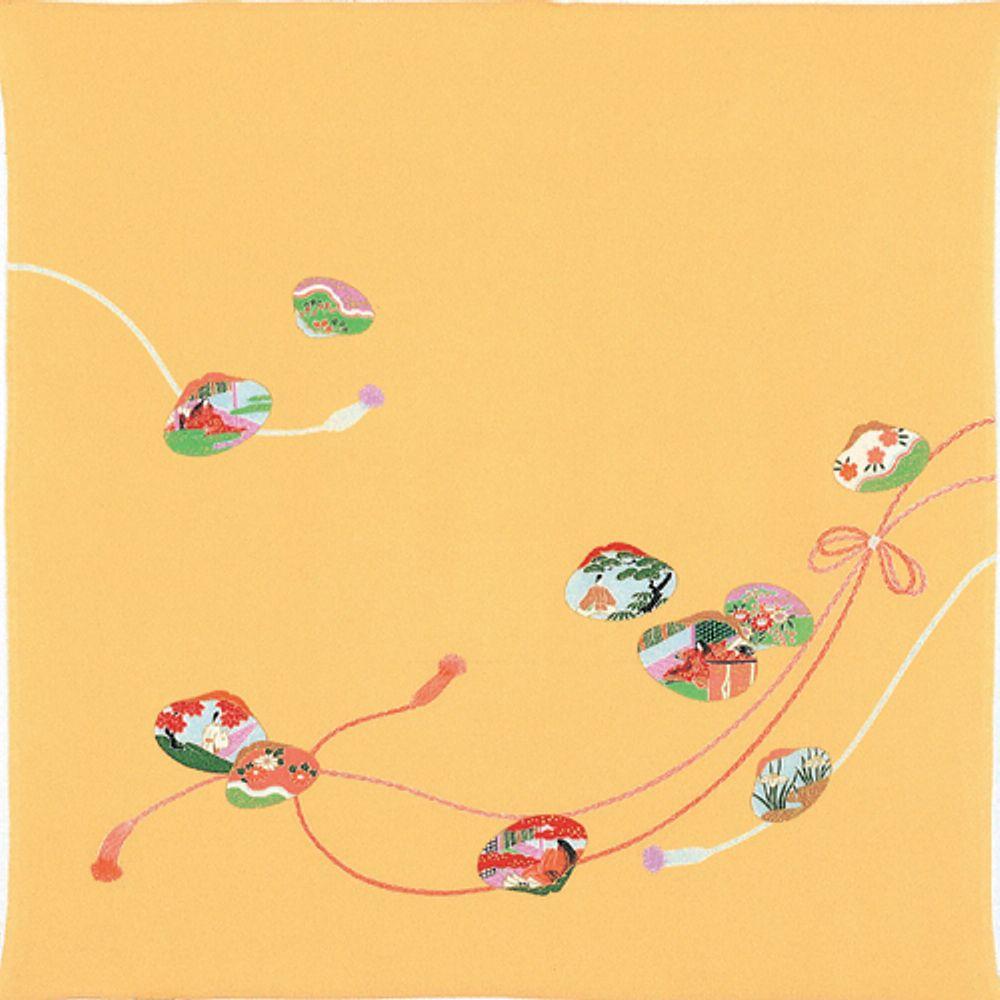 大切な時を結ぶ ふろしき 和装小物 風呂敷 むす美 お得セット 至上 貝合わせ 正絹ちりめん 友禅 二巾7号 オレンジ