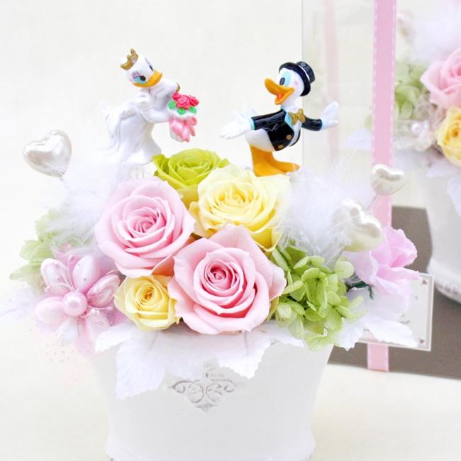 ドナルド デイジー プリザーブド入り 結婚式 記念日 フラワー ギフト 造花 アレンジメント P2