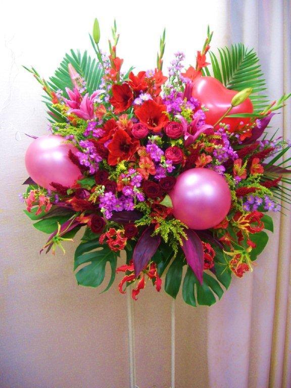 【送料無料】お祝いバルーンスタンド花(1段)