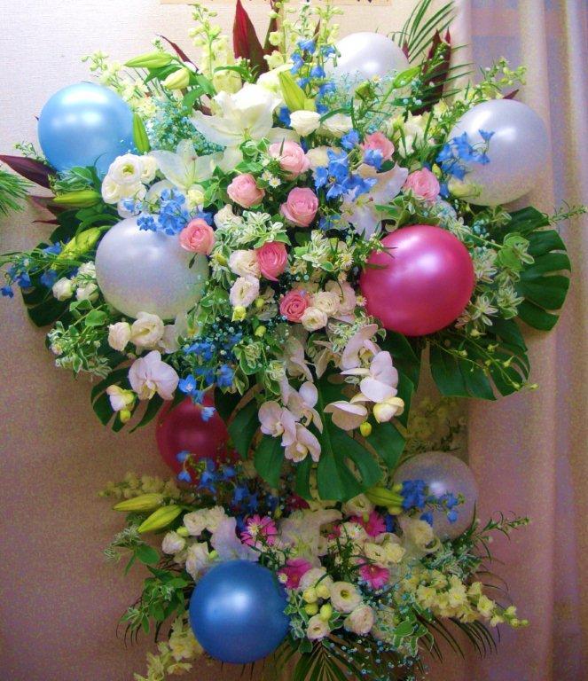 【送料無料】お祝いバルーンのスタンド花(2段)C