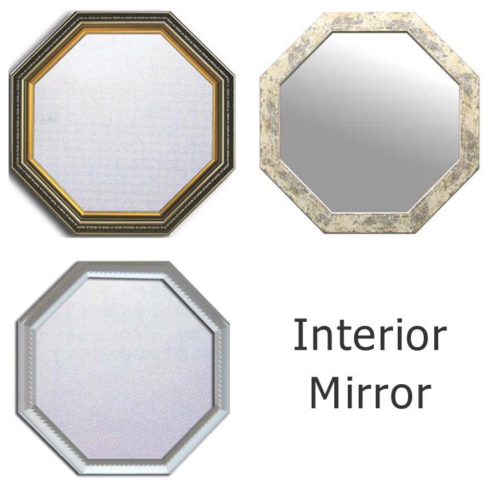 風水 八角 Interior Mirror/インテリア・ミラー 鏡 八角形 金運アップ 楽ギフ_包装