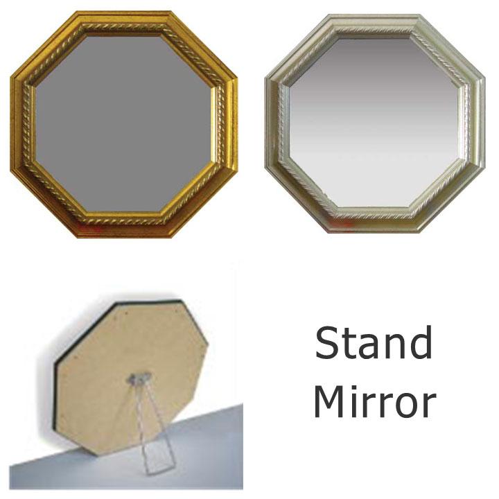 風水 八角 Interior Mirror/インテリア・ミラー 鏡 八角形 金運アップ スタンドタイプ 楽ギフ_包装