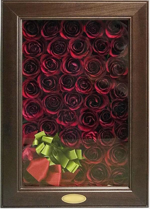 送料無料!Reine De Fleur (レンデフロール)ブーケ立体3D長方形フレーム記念の花束/プロポーズの花束を残す/ドライフラワー/100本の赤いバラ/