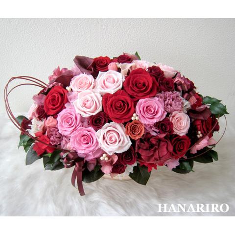 【茜(あかね)】 プリザーブドフラワー お祝い 退職祝い 還暦祝い その他記念日 開業祝い 法人 開店祝い ピンク 誕生日祝い ギフト 送料無料 プレゼント 花 贈り物 ブリザードフラワ- お花 プリザ