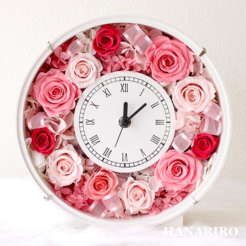 【フラワークロック(ピンク)】 プリザーブドフラワー 花時計 時計 壁掛け お祝い ピンク 結婚祝い 結婚記念日 還暦祝い 開業祝い 法人 開店祝い 誕生日祝い ギフト 送料無料 プレゼント 花 贈り物 ブリザードフラワ- お花 プリザ