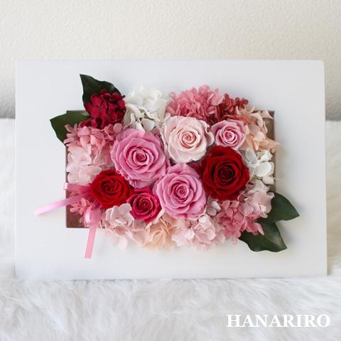 【奏(かなで)】 プリザーブドフラワー 壁掛け お祝い 結婚祝い 出産祝い 還暦祝い 開業祝い 法人 開店祝い ピンク フレーム型 ギフト 送料無料 プレゼント 花 贈り物 ブリザードフラワ- お花 プリザ
