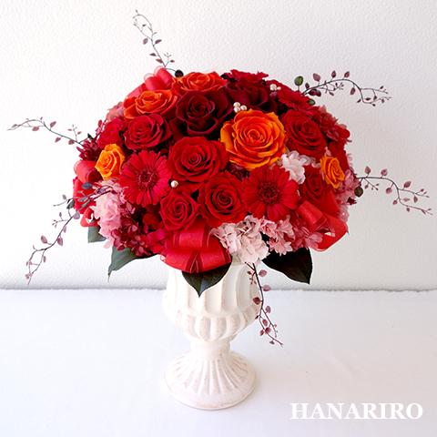 【円(まどか)】 プリザーブドフラワー お祝い 退職祝い 還暦祝い 開業祝い 法人 開店祝い 赤 誕生日祝い ギフト 送料無料 プレゼント 花 贈り物 ブリザードフラワ- お花 プリザ
