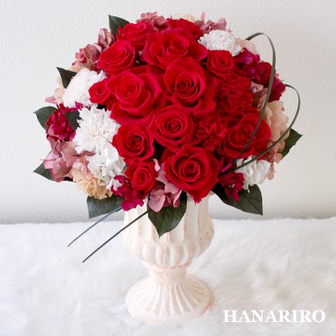 【パッションレッド】 プリザーブドフラワー お祝い 結婚記念日 退職祝い 還暦祝い 開業祝い 法人 開店祝い 赤 誕生日祝い ギフト 送料無料 プレゼント 花 贈り物 ブリザードフラワ- お花 プリザ