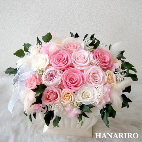 【ロマンス】 プリザーブドフラワー お祝い 結婚祝い 退職祝い 結婚記念日 開業祝い 法人 ピンク 誕生日祝い ギフト 送料無料 プレゼント 花 贈り物 ブリザードフラワ- お花 プリザ