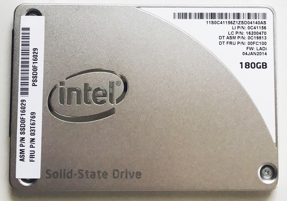 SSD:Lenovo製純正品 (Intel製) SSD Pro 1500Series 180GB(03T6769,SSD0F16029, 国内発送)