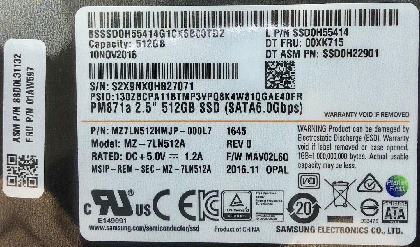 SSD:新品 Lenovo純正 2.5inch 7mm 512GB(Fru.No.:01AW597, MZ-7LN512A)国内発送