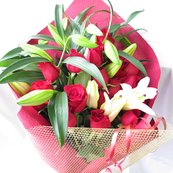 Casablanca And Rose Bouquet Flower Gift Women Red Roses Lily Bouquets Birthday 60th Celebrations Mother
