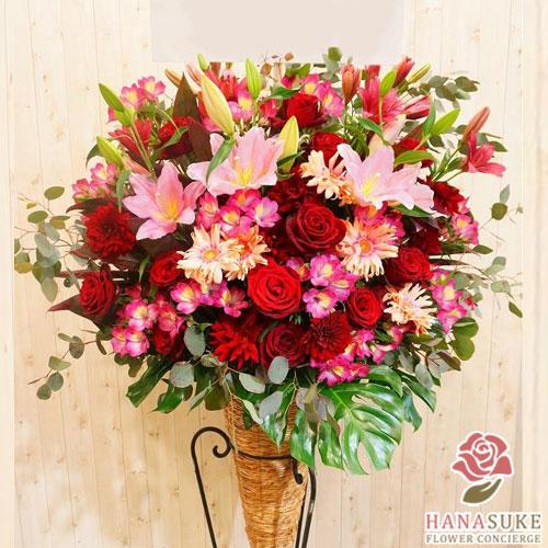 【花】フラワーコンシェルジュが厳選した花屋のお祝いスタンド花1段 23000円【あす楽対応】【楽ギフ_メッセ入力】開店祝い、移転祝い、ビジネスイベントなどのお祝いに即日発送