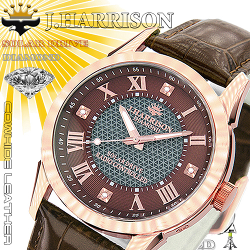 J.HARRISON 4石天然ダイヤモンド付・ソーラー電波時計 JH-085BZ