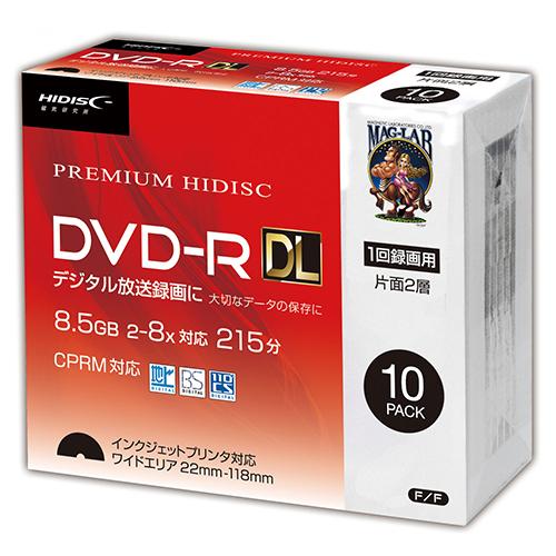 10個セット HIDISC DVD-R DL 8倍速対応 8.5GB 1回 CPRM対応 録画用 インクジェットプリンタ対応10枚 スリムケース入り HDDR21JCP10SCX10