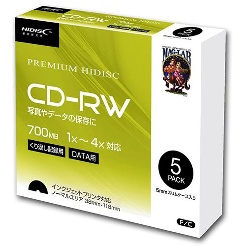 20個セット HIDISC データ用 CD-RW 1-4倍速5mmスリムケース入り5枚パック HDCRW80YP5SCX20